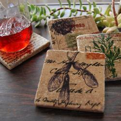 Vintage Botanicals coaster set
